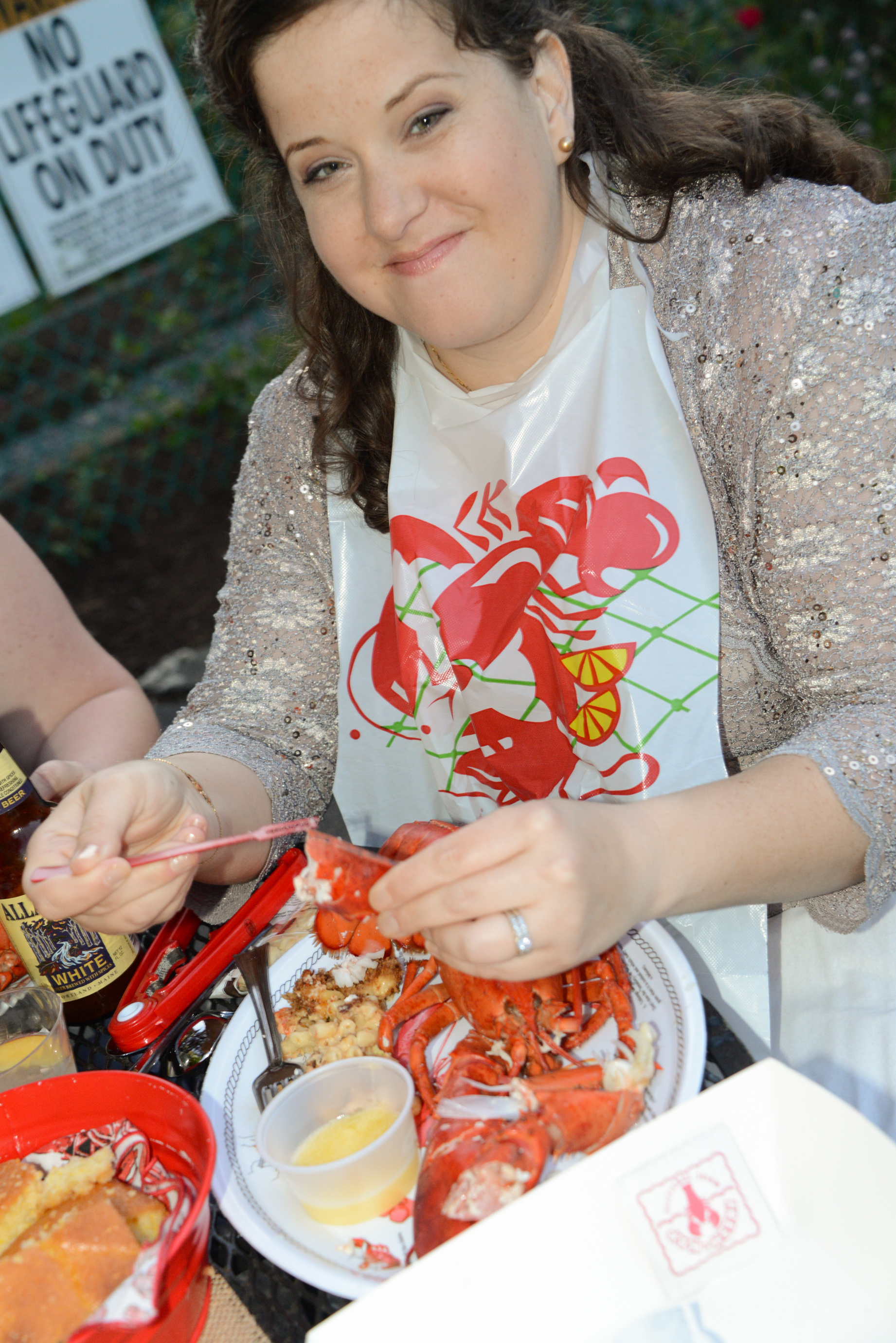Jenn enjoying a fresh steamed lobster