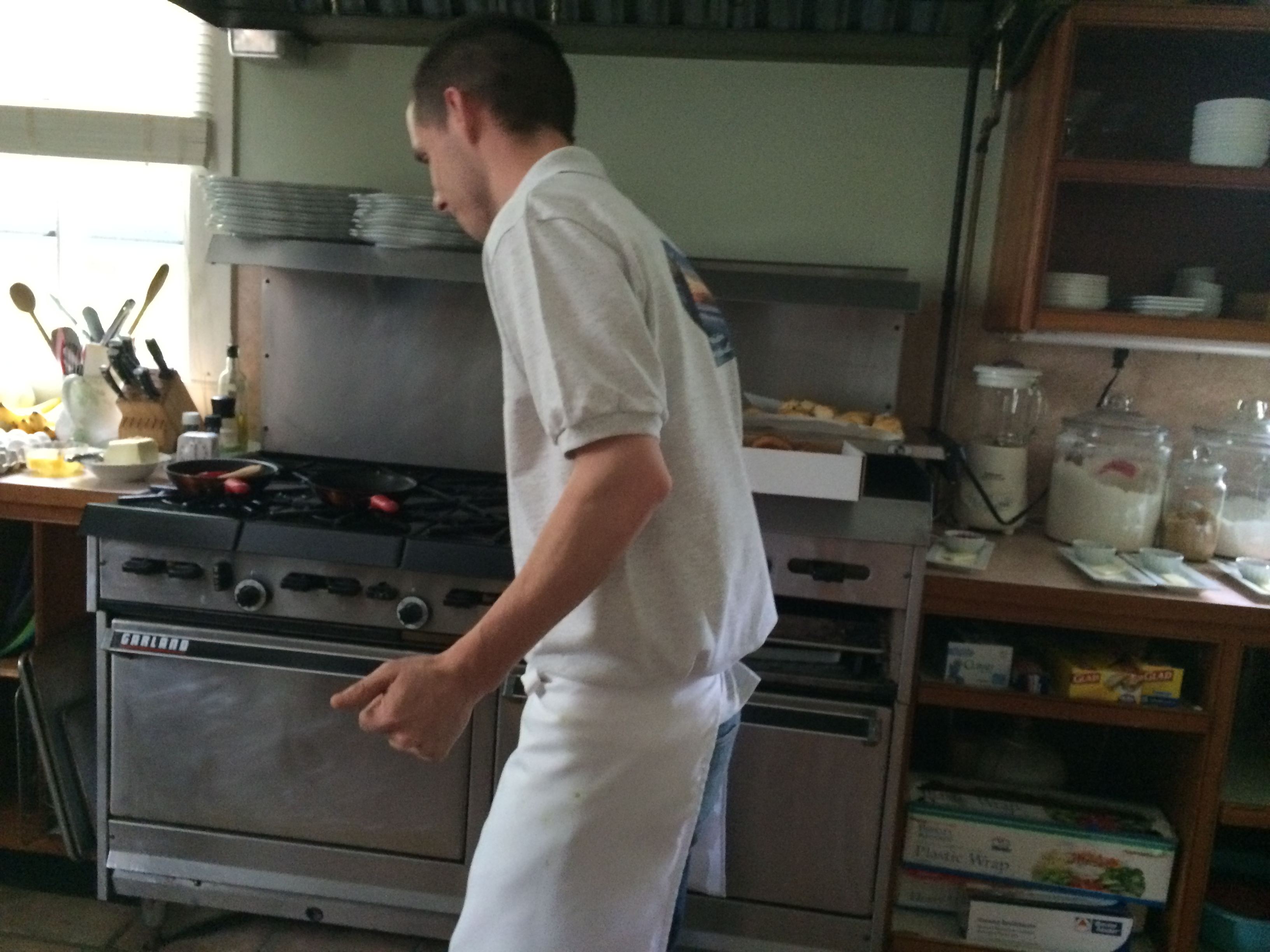 Chef Nick dancing in our kitchen
