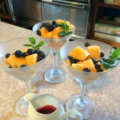 Melon and blueberry fruitini
