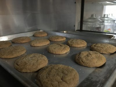 Molasses Cookies fresh out of the oven at the Captain Freeman