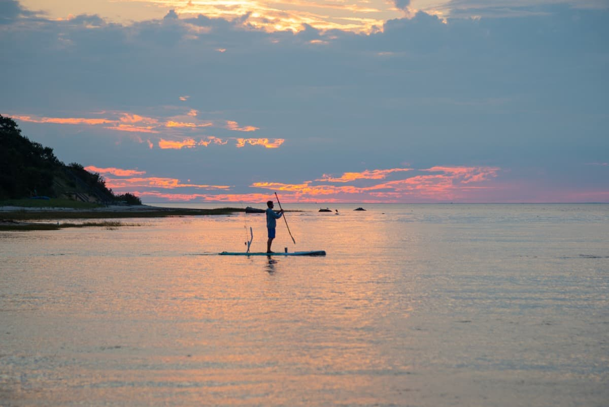 Paddle boarder on the bay at sunset