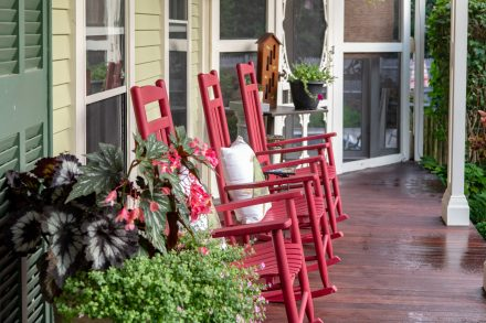 Front rocking chairs at the Captain Freeman Inn