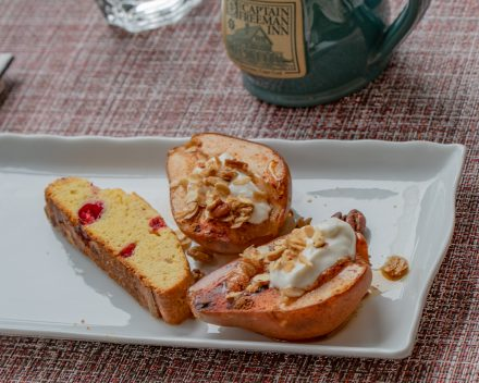 Baked Pears with Cranberry Biscotti