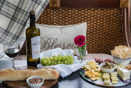 Tasting tray with wine