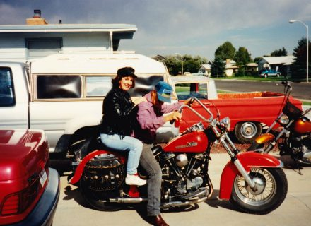 Donna on her father's in-laws Harley