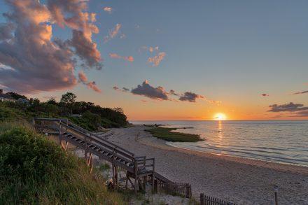 Breakwater beach at sunset