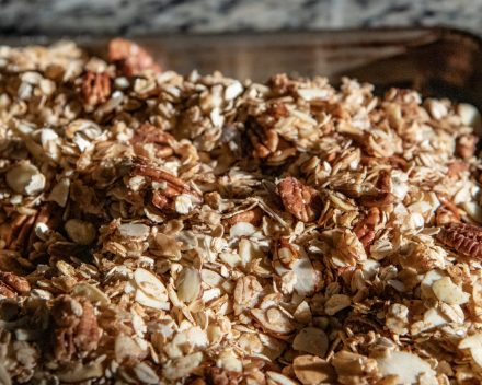 Homemade granola with almonds, pecan and oats