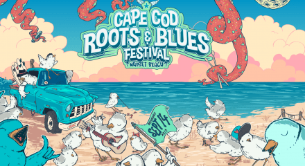 Cartoon drawing of the Cape Cod Roots and Blues Festival