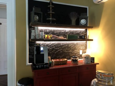Coffee station with chalk board