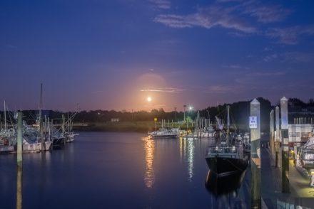 Harvest moon over Sesuit Harbor