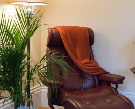 Ekornes recliner in the corner