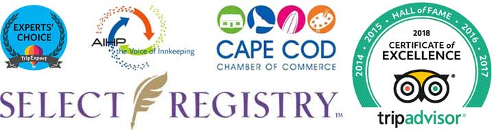 Select Registry, Cape Cod Chamber, AIHP, TripExpert, Tripadvisor Certificate of Excellence