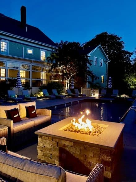 Pool with new custom fire pit